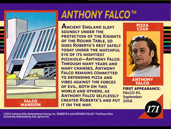 Fictionalized Anthony Falco Pizza Czar promotional card featuring actor Edward Furlong (Terminator 2: Judgement Day, American History X) as a surrogate for Falco. Inspired by the work of Steve Epting and Paul Mounts for Marvel Comics.