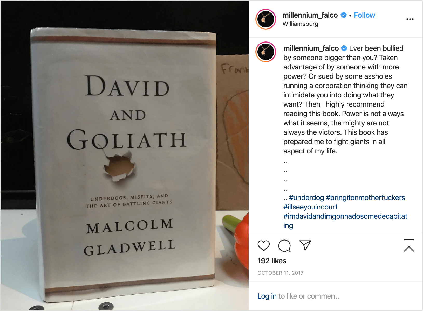 An <a href='https://www.instagram.com/p/BaH6aNRnyyO/?igshid=1txu9eh5rnw2l'>Instagram post</a> by Anthony Falco, featuring <i>David and Goliath</i> by Malcom Gladwell, in response to the   Roberta's lawsuit.