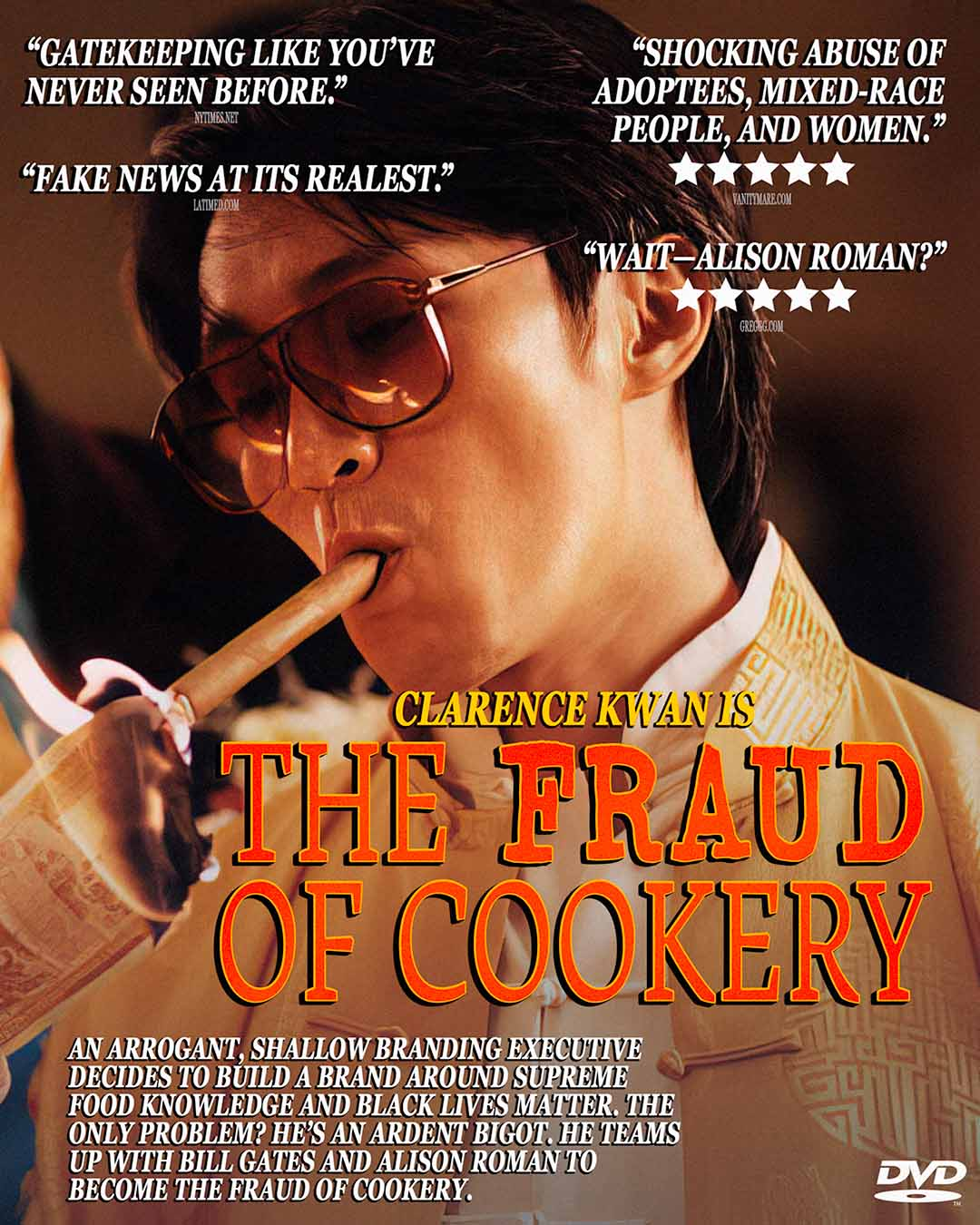 Mock DVD cover for The Fraud of Cookery, based on The God of Cookery, the film from which Clarence Kwan's Instagram profile picture was obtained. Originally presented as an Instagram post.