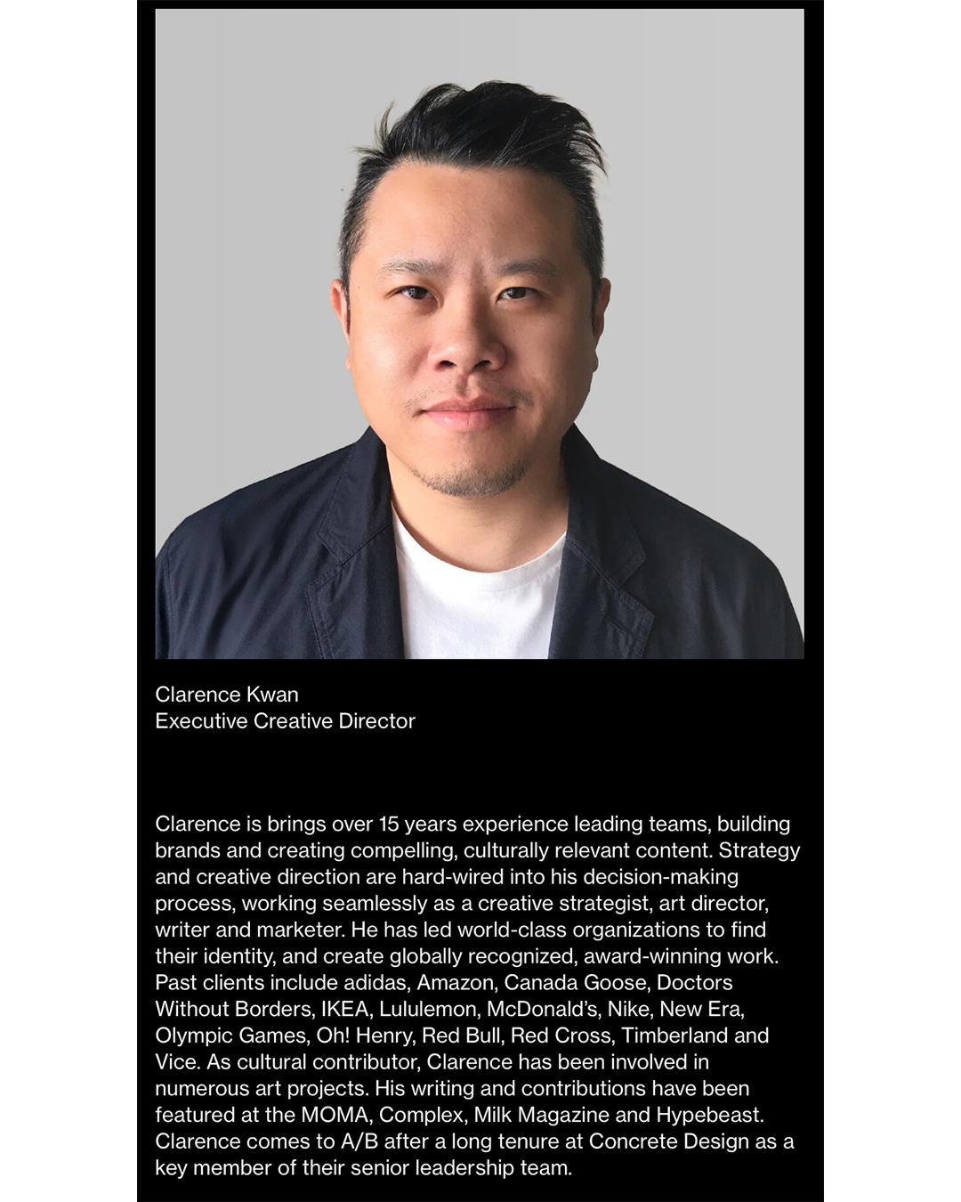 Screenshot of Clarence Kwan's bio describing his professional background.
