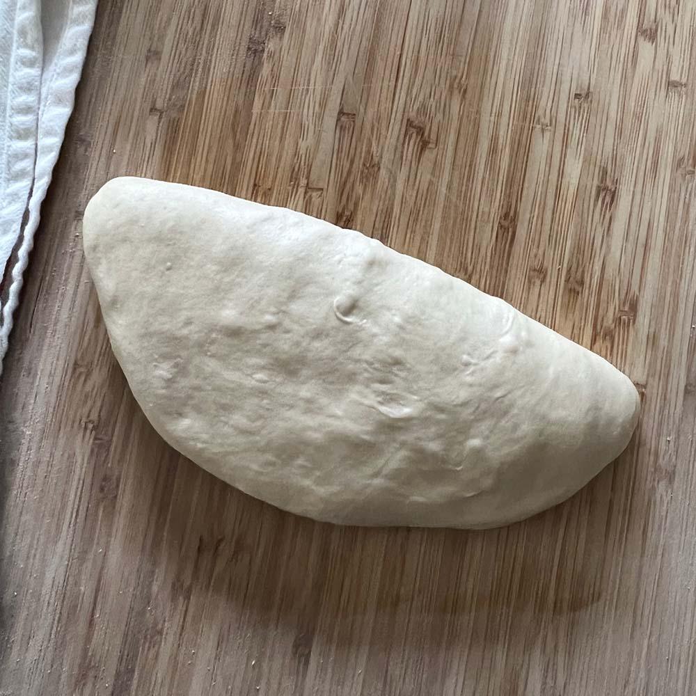 Folded in half.