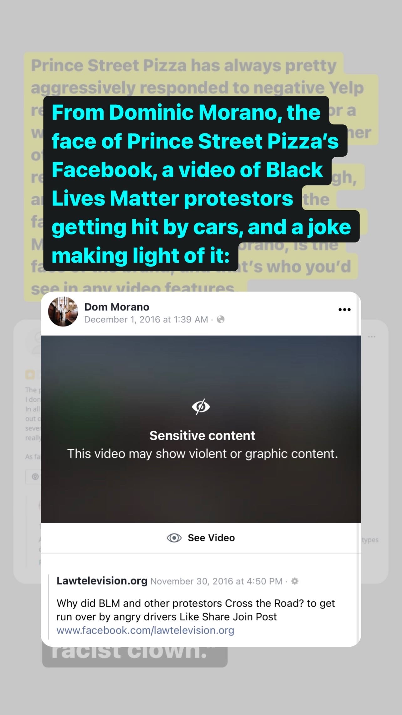 Joe Rosenthal (@joe_rosenthal) Instagram Story describing the Black Lives Matter protestor video reposted by Dominic Monaro. December 24, 2020.