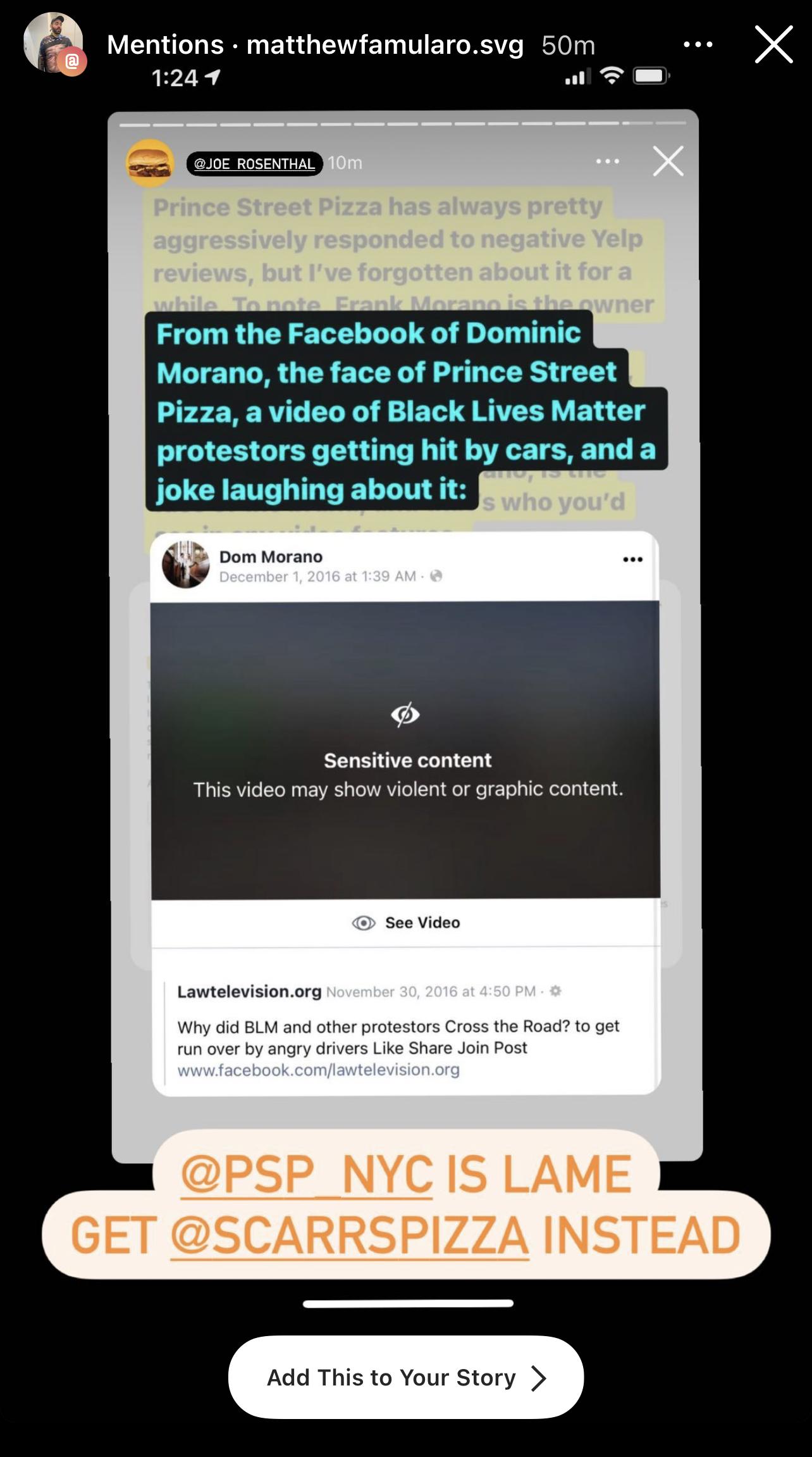 Matthew Famularo (@matthewfamularo.svg) reposting Joe Rosenthal's (@joe_rosenthal) Story with added text. December 24, 2020