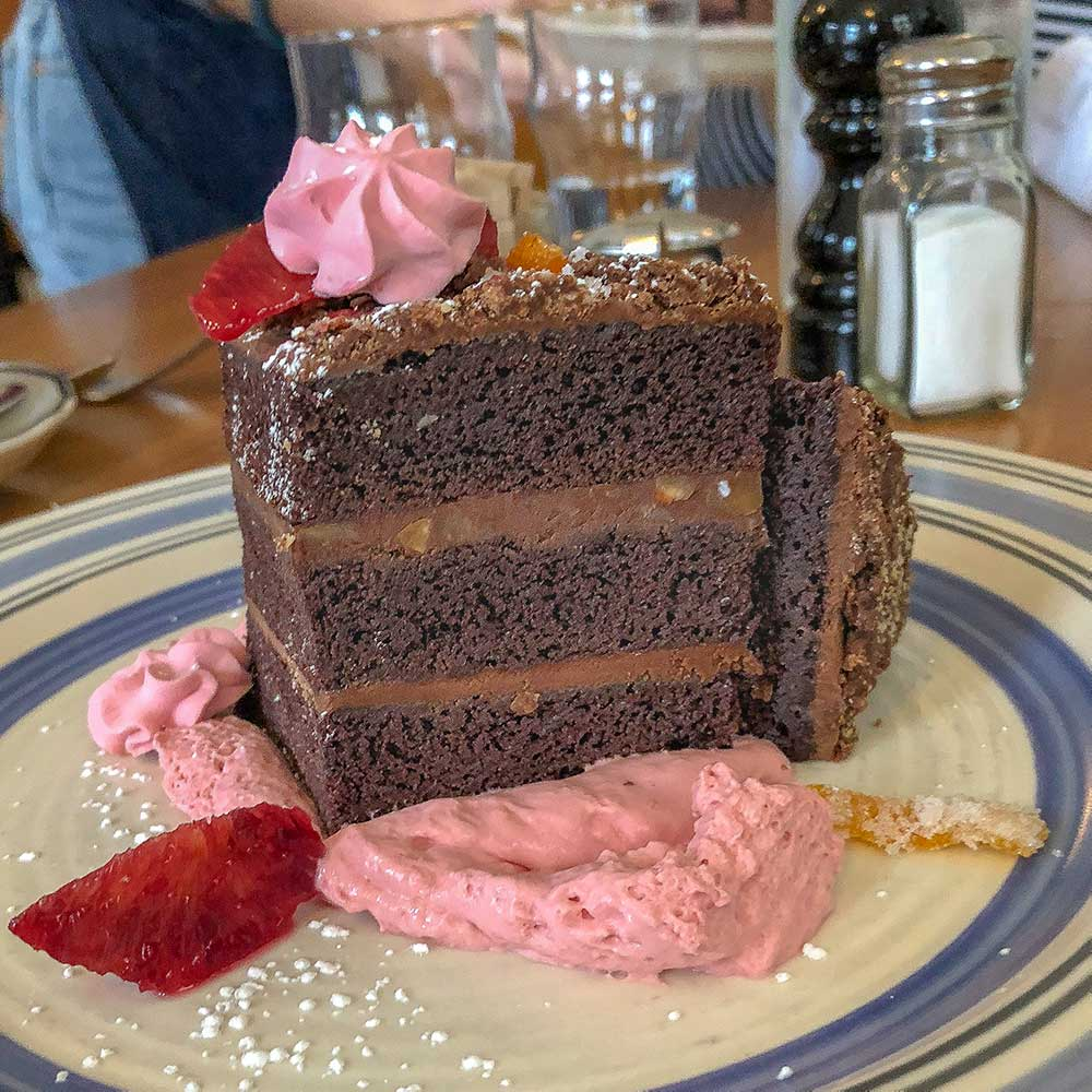 Blood orange chocolate cake from The Whitfield at Ace Hotel Pittsburgh.