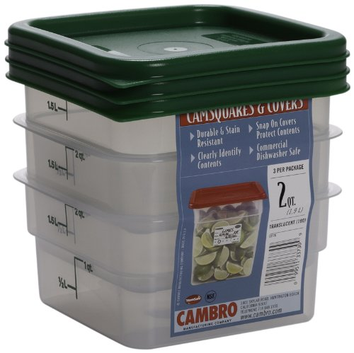 Set of 3 Square Food Storage Containers with Lids, 2 Quart by Cambro