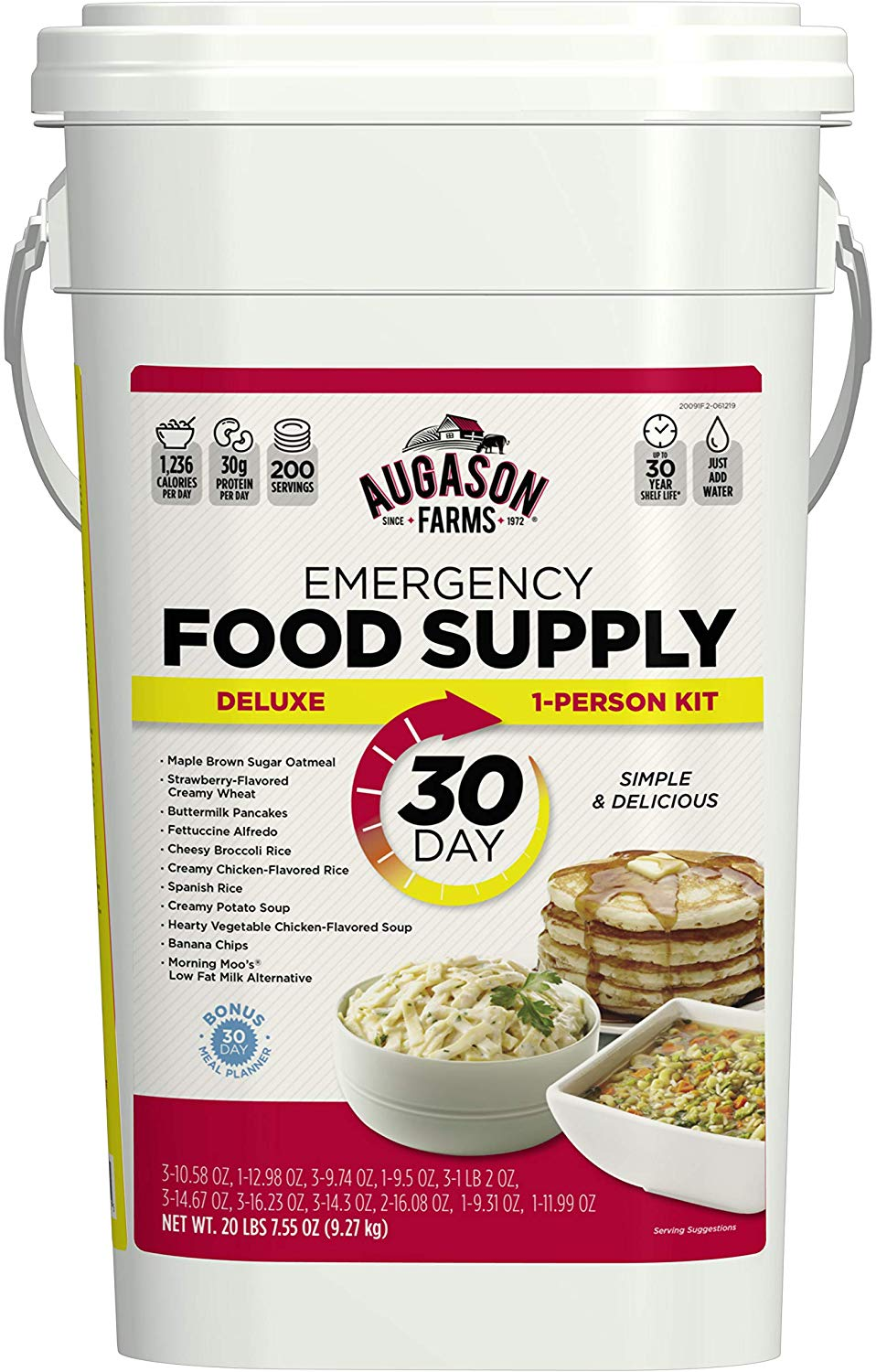 Deluxe Emergency 30-Day Food Supply), Net Weight 20 lbs. 7 oz. by Augason Farms