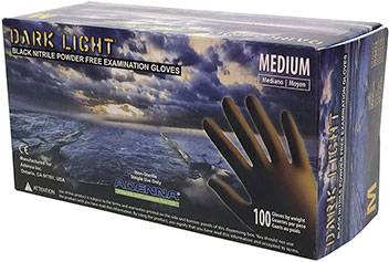 Dark Light 9 mil Nitrile Powder Free Exam Gloves by Adenna
