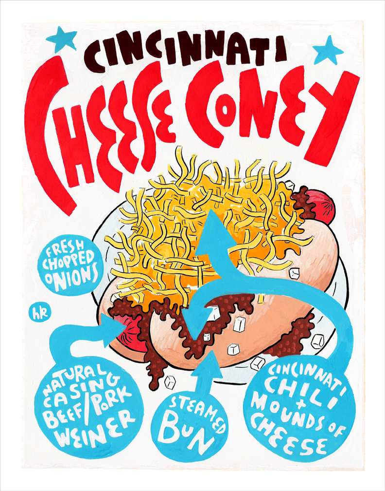 Cincinnati Cheese Coney Art Print by Hawk Krall