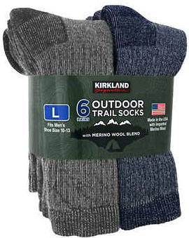 Men's Wool Crew Sock, 6-pair by Kirkland Signature