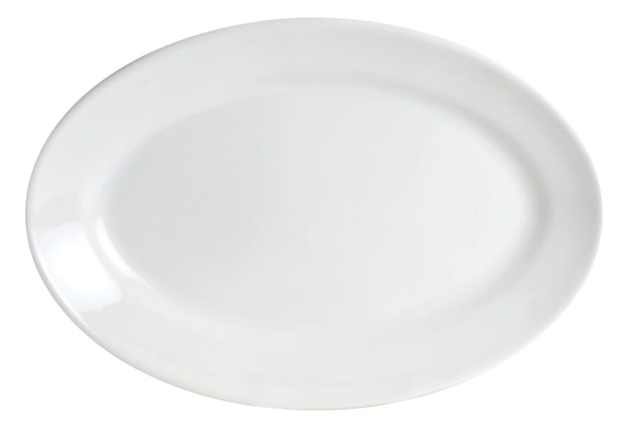 American White Large Oval Serving Platter by HF Coors