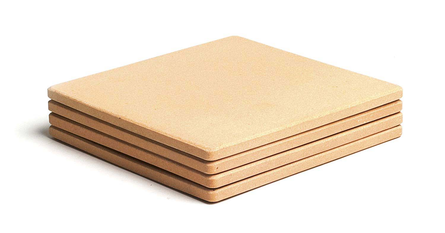 "7.5"" Square ThermaBond Mini Baking, Set of 4 Pizza Stones by Pizzacraft"