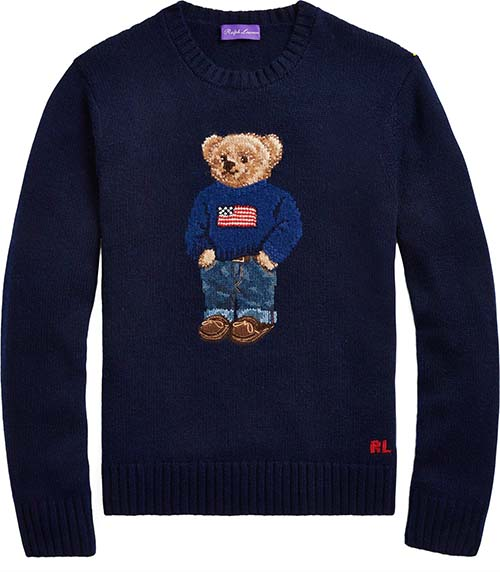 Men's Polo Bear Cashmere Sweater by Ralph Lauren Purple Label